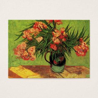 Cartão De Visitas Ainda vaso da vida com Oleanders e livros, Van