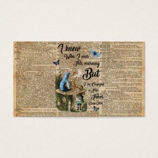 Cartão De Visitas Alice na arte do dicionário do vintage das
