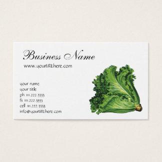 Cartão De Visitas Alimentos do vintage, vegetais verdes da alface de