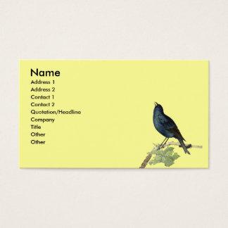 Cartão De Visitas Amarelo elegante do pássaro do preto do vintage