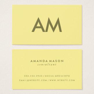 Cartão De Visitas Amarelo minimalista do monograma