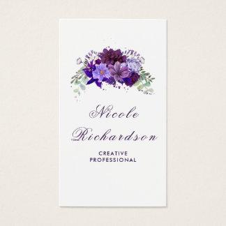 Cartão De Visitas Ameixa e na moda roxo violeta das flores e