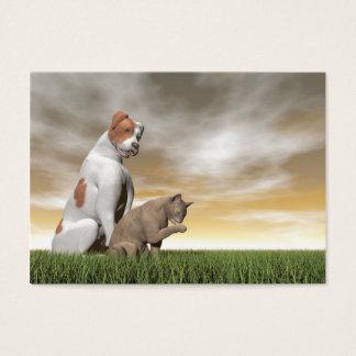 Cartão De Visitas Amizade do cão e gato - 3D rendem
