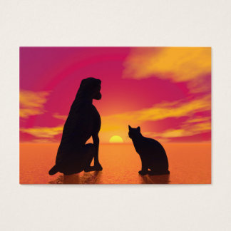 Cartão De Visitas Amizade do cão e gato no por do sol