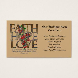 Cartão De Visitas Amor da esperança da fé, design floral com verso