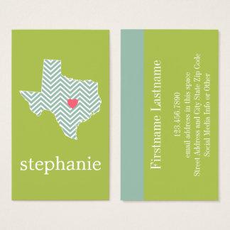 Cartão De Visitas Amor de Texas com nome feito sob encomenda do