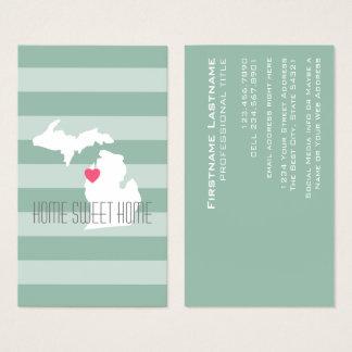 Cartão De Visitas Amor do estado de origem do mapa de Michigan com