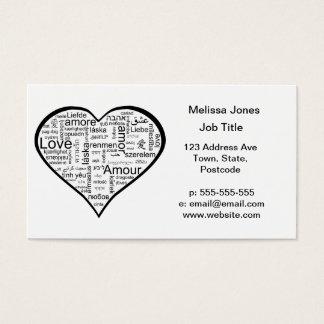 Cartão De Visitas Amor no coração de muitas línguas