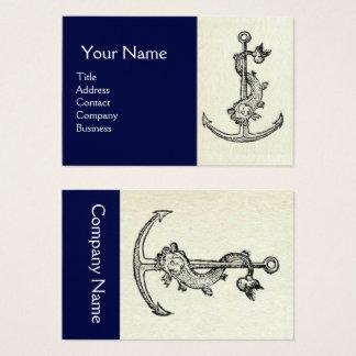 Cartão De Visitas ÂNCORA ANTIGA COM azuis marinhos brancos NÁUTICOS