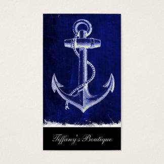 Cartão De Visitas âncora náutica chique litoral dos azuis marinhos