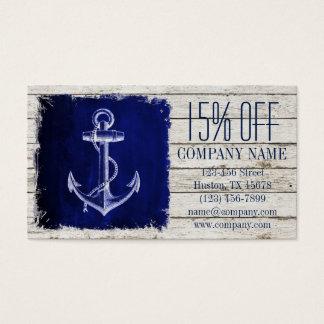 Cartão De Visitas âncora náutica de madeira chique dos azuis