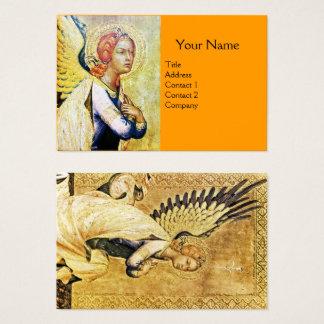 Cartão De Visitas ANJO do AVISO, amarelo alaranjado do ouro