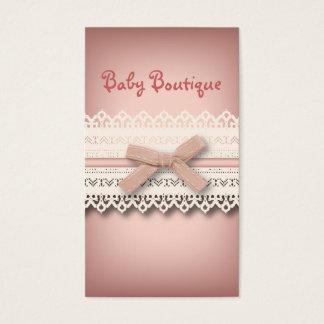Cartão De Visitas Arco branco chique feminino do rosa do laço da