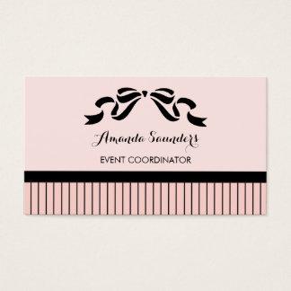 Cartão De Visitas Arco cor-de-rosa parisiense chique das riscas do
