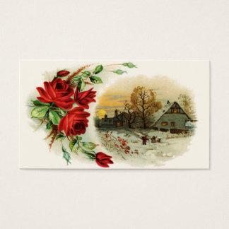 Cartão De Visitas Arco dos rosas com vinheta do Victorian