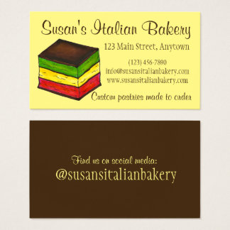 Cartão De Visitas Arco-íris italiano pastelaria da padaria do