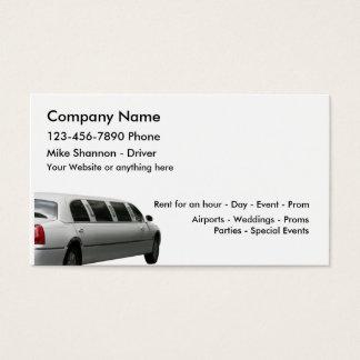 Cartão De Visitas Arrendamento do Limo e serviço do motorista