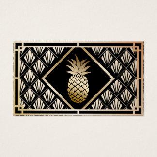 Cartão De Visitas Art deco do abacaxi do vintage do preto moderno &