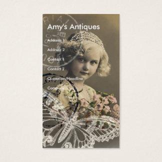 Cartão De Visitas Arte de Digitas da menina do vintage