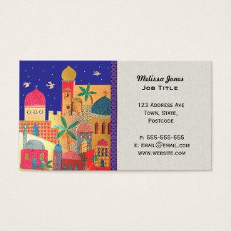 Cartão De Visitas Arte do Oriente Médio colorida da cidade de