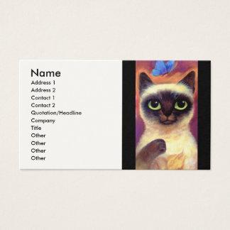 Cartão De Visitas Arte felino da borboleta do gato Siamese - multi