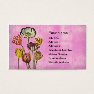 Cartão De Visitas Arte floral bonito no fundo cor-de-rosa da lavagem
