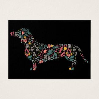 Cartão De Visitas Arte floral da aguarela do teste padrão do cão do