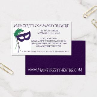 Cartão De Visitas Artes do teatro do teatro da comunidade da máscara