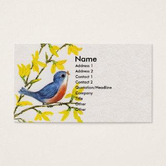 Cartão De Visitas Árvore azul do pássaro do canto bonito