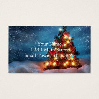 Cartão De Visitas Árvore de Natal - decorações do Natal - flocos de
