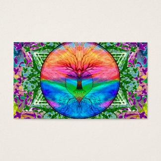 Cartão De Visitas Árvore de vida de acalmação em cores do arco-íris