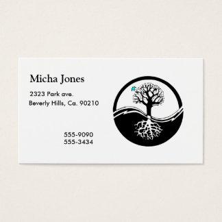 Cartão De Visitas Árvore de Yin Yang do preto & do branco da vida