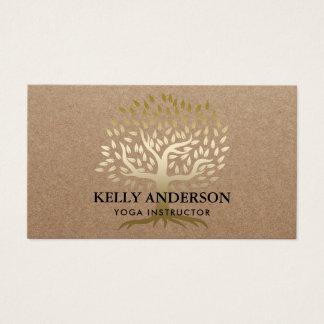 Cartão De Visitas Árvore Kraft rústico do ouro do instrutor da ioga