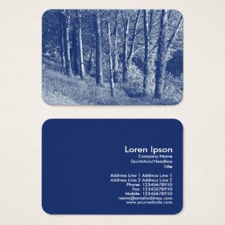 Cartão De Visitas Árvores por um rio - efeito de Cyanotype
