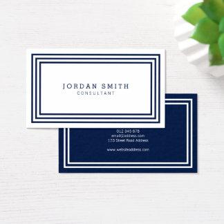 Cartão De Visitas As beiras modernas Dual branco e azuis marinhos da