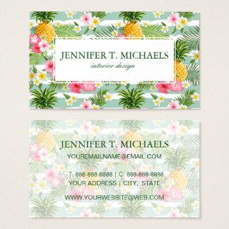 Cartão De Visitas As flores & as listras tropicais do abacaxi |