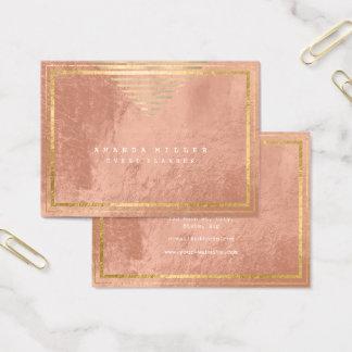 Cartão De Visitas As listras douradas moldaram a pele mínima do rosa