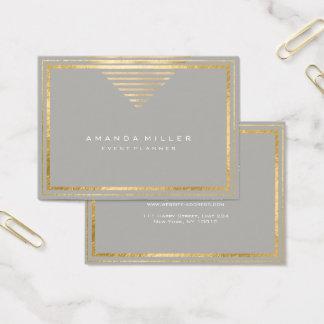 Cartão De Visitas As listras douradas moldaram as cinzas mínimas