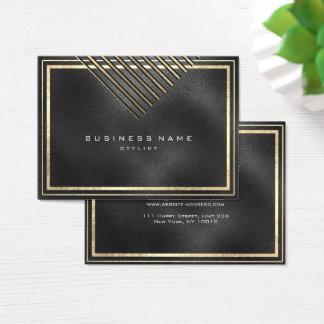 Cartão De Visitas As listras douradas moldaram o preto mínimo Glas