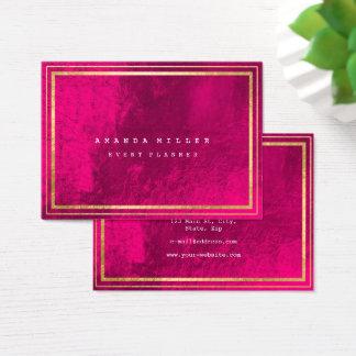 Cartão De Visitas As listras douradas moldaram o rosa geométrico