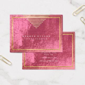 Cartão De Visitas As listras douradas moldaram o rosa mínimo do rosa