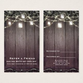 Cartão De Visitas As luzes & os frascos de pedreiro de madeira
