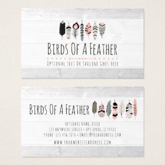 Cartão De Visitas As penas de pássaro boémias coram dentro chique