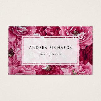Cartão De Visitas As peônias cor-de-rosa clássicas aglomeram |