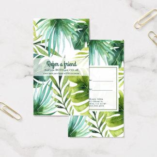 Cartão De Visitas As plantas havaianas das folhas tropicais