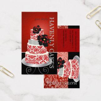 Cartão De Visitas Âtisserie vermelho de /p do bolo de veludo de