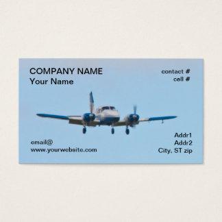 Cartão De Visitas Avião gêmeo na aproximação de aterragem