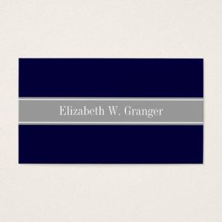 Cartão De Visitas Azuis marinhos contínuos, obscuridade - monograma