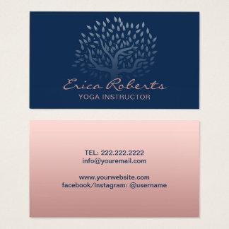 Cartão De Visitas Azuis marinhos cor-de-rosa do ouro da árvore do