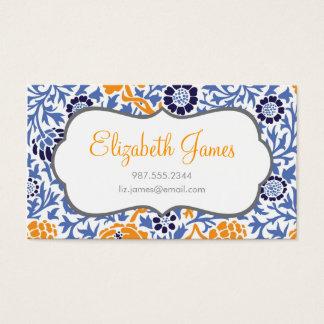 Cartão De Visitas Azuis marinhos & damasco floral retro alaranjado